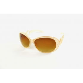 Beige sunglasses with rimmed temples