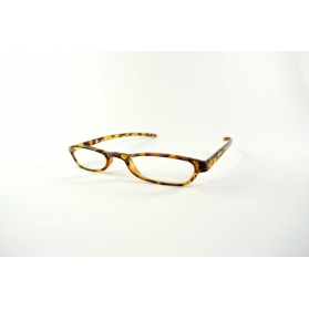 Rectangular half-moon clear leopard printed reading glasses
