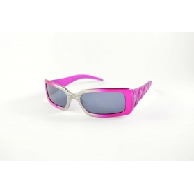 Rectangular kids sunglasses with spider pattern over the nose and padded temples
