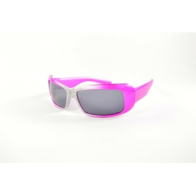 Rectangular kids sunglasses with silver nose and spider pattern
