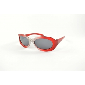 Oval kids sunglasses with silver nose and spider pattern