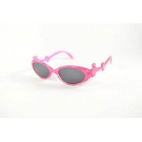 Cat eyes kids sunglasses with girly printings and apple over temples