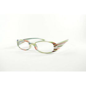 Oval reading glasses with mutlicolored stripes