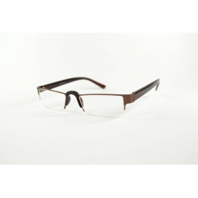 Rectangular half-moon reading glasses with nose up