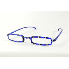 Rectangular half-moon reading glasses with navy blue tartan printed
