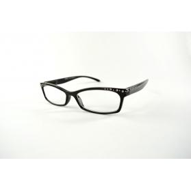 Gafas de lectura en forma de mariposa negro retro de años 60 con diamantes