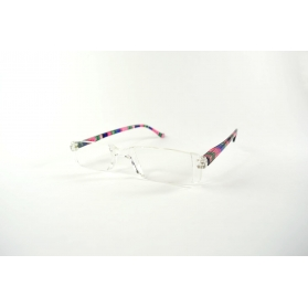 Transparent half-moon reading glasses and colored temples