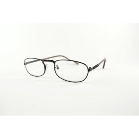Rectangular black reading glasses with nose up and flexible temples
