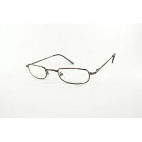Thin rectangular reading glasses with two-color temples