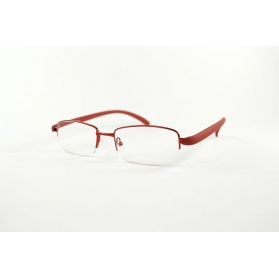 Half-rimmed rounded reading glasses with gum temples
