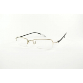 Half-rimmed rectangular reading glasses with flexible plastic temples