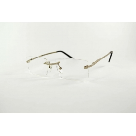 Invisible rectangular silver reading glasses with black tip temples