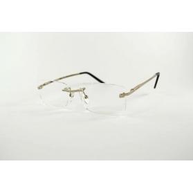 Gafas de lectura montadas rectangular de plata con la punta de las patillas negras