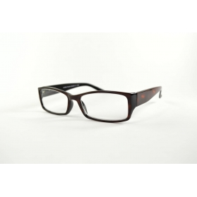 Rectangular reading glasses with wide temples