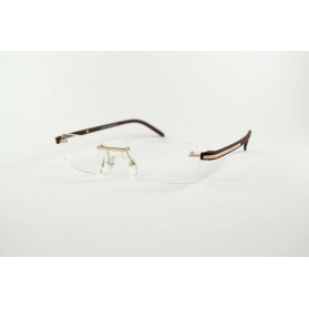 Invisible rectangular reading glasses with colorful gum temples