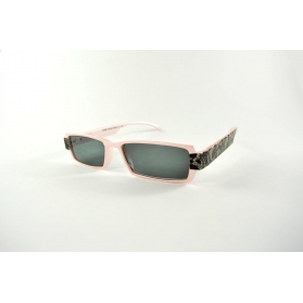 Pearly pink rectangular sun reading glasses with lace printed on temples
