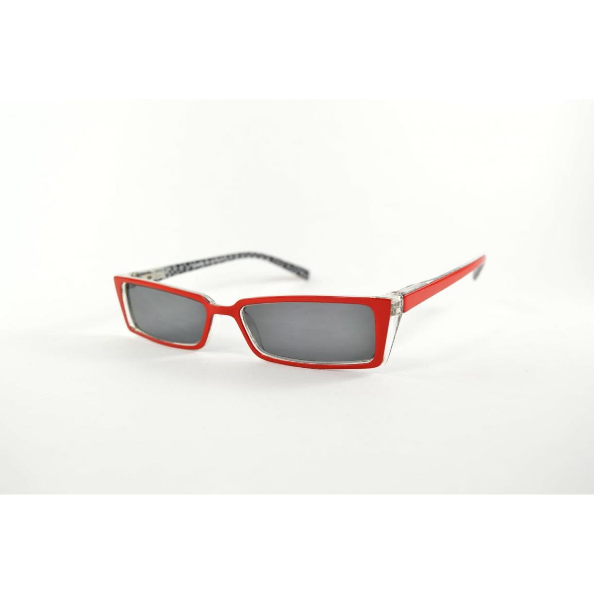 Lunettes de lecture solaires oeil de chat rouges fines intérieur imprimé losange noir