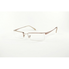 Semi-rimless rectangular reading glasses gold and brown ttemples tips