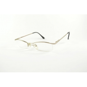 Half-rimmed silver reading glasses with double nose