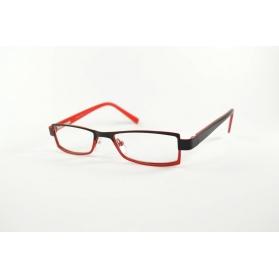 Lunettes de lecture rectangulaires bicolore noir et rouge en métal