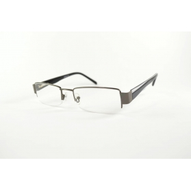 Rectangular half-rimmed two-color reading glasses in acetate and metal