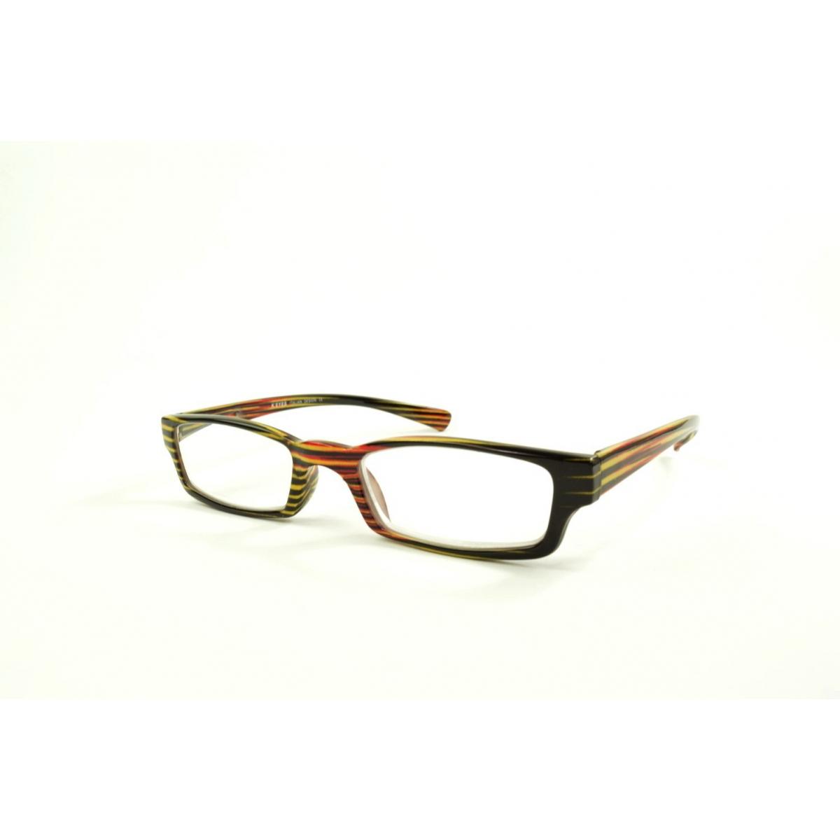 Gafas de lectura rectangulares con rayas de colores