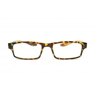 Rectangular reading glasses around the neck