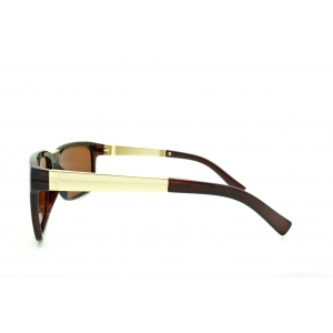 Large rectangle polarized sunglasses with two materials temples