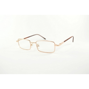Rectangular metal reading glasses with plastic temples