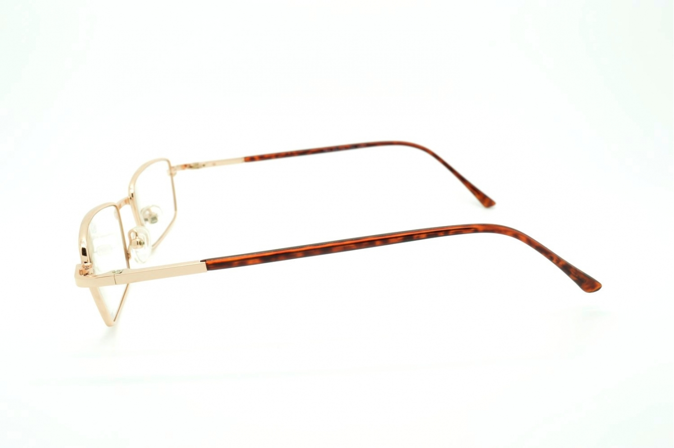 rectangular metal reading glasses with plastic temples k