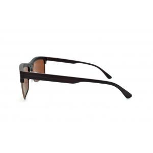 Rectangular polarized sunglasses eye-brow style with metal frame