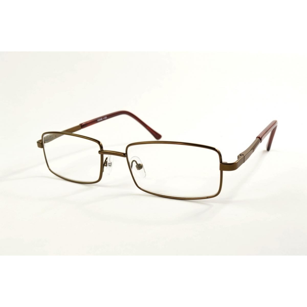 Wide rectangular metal reading glasses