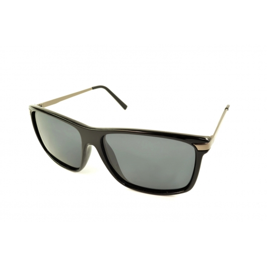 Rectangular polarized sunglasses with metallic thin temples