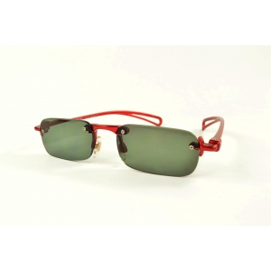Invisible sun reading glasses with red frame