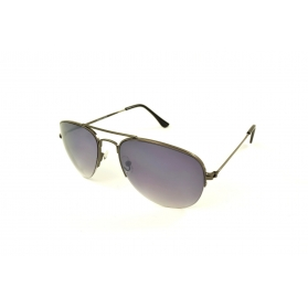 Half-rimmed pilot sunglasses with double bars