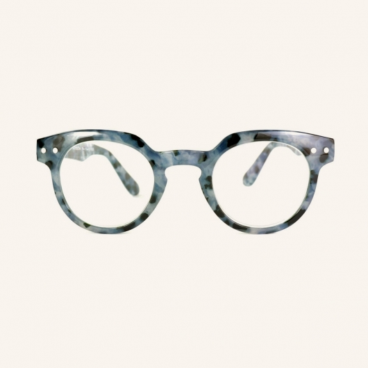 Round reading glasses with an angular upper part of the strapping