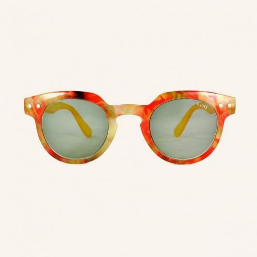 Gafas de lectura de sol redondas con parte superior angular