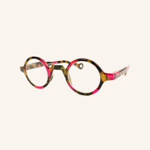Round reading glasses with nose bridge