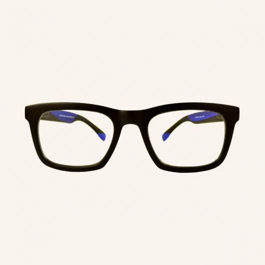 Gafas de lectura de pantallas en forma de ojo de gato rectangular negro mate
