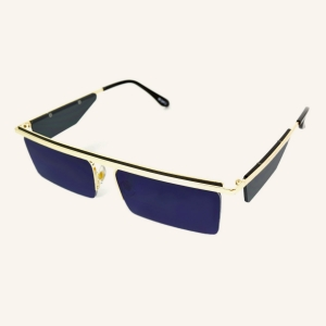 Thin rectangular sunglasses with lenses on temples