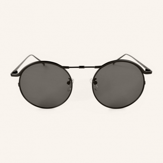 Round metal sunglasses with unique upper bridge