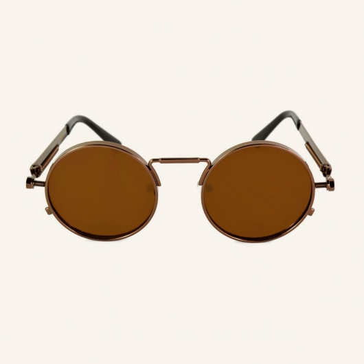 Round metal sunglasses with screws and tension springs on temples Melbourne