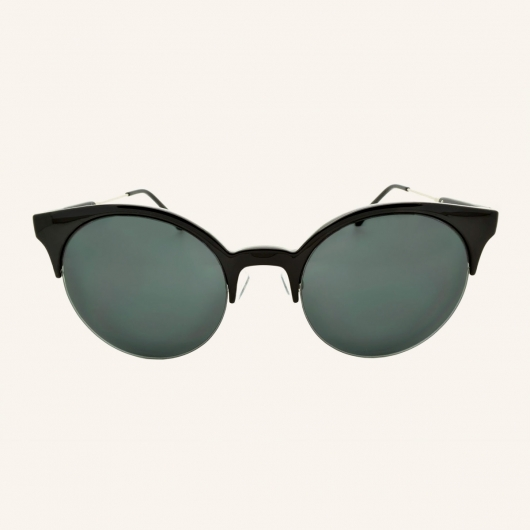 Round eye-brow sunglasses bi-material