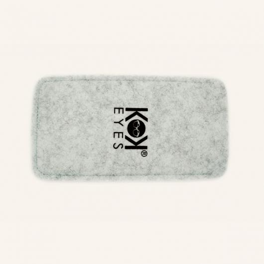 Eyewear case in grey felt with a mottled grey finish