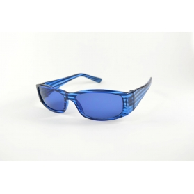 Large oval blue sunglasses