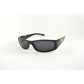 Small sport mask sunglasses with acronym over temples